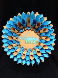 17 brown/blue Welcome Home paper dahlia style by TheCornerPaper