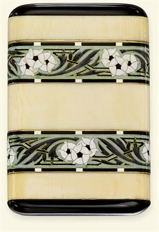 Women in the 1920s created quite the stir when they began smoking in public. This smoking trend, originally started by the Flappers, gave rise to bejeweled and sparkly cigarette cases. This Art Deco ivory, enamel and onyx cigarette case, by Boucheron, is a beautiful example. It sold for $10,196 US in a recent Christie's auction.