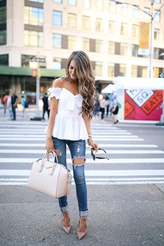 white ruffled off the shoulder top