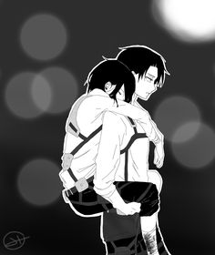 "happy-sky: "" Here I just finished my drawing my first RivaMika but it can also be a picture of levi carrying his beloved sister These are clothes of the latest scans bc I just wanted to do a ""What if""..."
