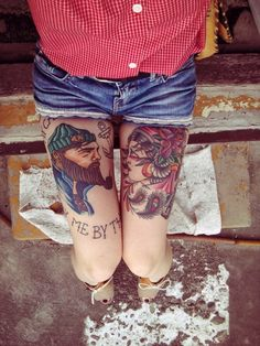 tenuedenimes:    Sailor tattoo's with a denim short