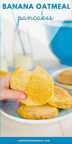 Easy To Make Snacks, Healthy Meals For Kids, Healthy Baking, Kids Meals, Banana Oatmeal Pancakes, Banana Oats, Mini Pancakes, Waffle Recipes, Baby Food Recipes