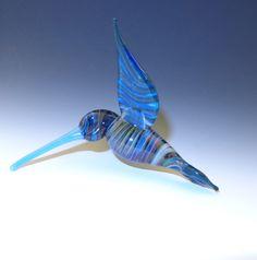 Glass Hummingbird Light Blue Beak  flamework by LivingOnTheEtch, $35.00