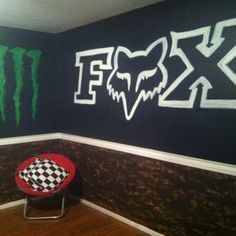 Trickin out my gameroom motocross style!:) grandboys will Love!:) Trickin out my gameroom motocross style!:) grandboys will Love! Dirt Bike Bedroom, Motocross Bedroom, Bike Room, Fox Racing, Racing Bike, Trendy Bedroom, Kids Bedroom, Bedroom Ideas, Cool Walls