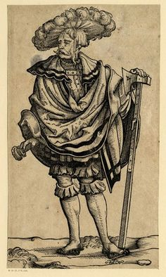 A landsknecht with his left hand on the head of a battle-axe; WL figure, head turned to l; from a series of fifty lansquenets.  c.1525-30 Wo...