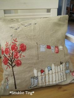 Tree, picket fence, embroidered, applique pillow