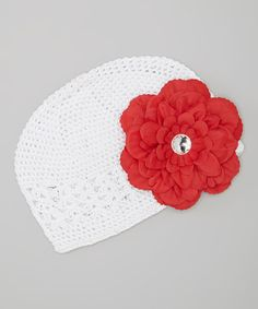 Take a look at this White & Red Dahlia Crocheted Beanie by Dress Up Dreams Boutique on #zulily today!