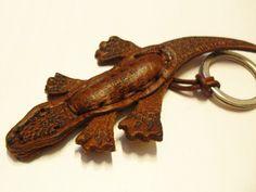 Schlüsselanhänger - Krokodil Handarbeit Echtleder Schlüsselanhänger - ein Designerstück von Mont_Klamott bei DaWanda