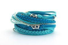 Turquoise Summer Boho Bracelet Blue Turquoise Mint by cardioceras
