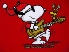 "Snoopy and Woodstock ""Have a Rockin Holiday"". Christmas T Shirt, Red Size Medium, Chest 40"" $19.95 #Snoopy #CharlesShulz at JustLuvTreasures.com"