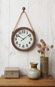 "Better Homes and Gardens 12"" Hanging Rope Wall Clock"