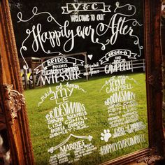 I am a huge fan of this style and the use of large decorative mirrors/signs for the wedding program, but maybe with the writing done on chalkboard paint since it may be hard for some guests to read.