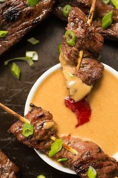 Thai Beef Satay Skewers with Peanut Dipping Sauce - a fresh and delicious appetizer recipe