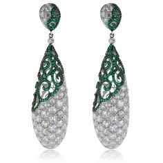 18K White Gold 14.39ct Diamond and Emerald Drop Earrings - Shyne Jewelers