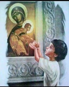 Innocence of a child Religious Pictures, Jesus Pictures, Religious Art, Christian Artwork, Miracle Prayer, Catholic Kids, Divine Mother, Holy Mary, Orthodox Icons
