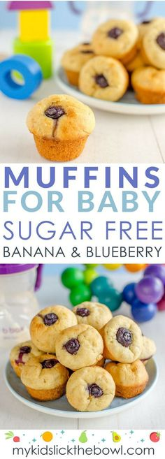 Muffins For Baby, No Sugar, Healthy For Kids and Babies. A Soft Baby Muffin with Banana and Blueberry (recipe for homemade pancakes sugar)