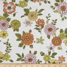 Kaufman Lennox Gardens Cotton Lawn Small Floral White from @fabricdotcom  Designed for Kaufman Fabrics, this very lightweight fabric is a finely woven, high count combed cotton lawn that is very soft and has an ultra smooth hand. It is perfect for flirty blouses, dresses, shirts, lingerie, tunics, tops and even quilting. Colors include pumpkin, maize, green, pale pink and a white background.
