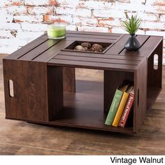 Furniture of America 'The Crate' Square Coffee Table with Open Shelf (Vintage Walnut), Brown