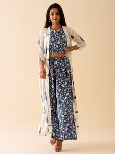 Blue Floral Blockprint paired with Shrug For Dresses, Casual Dresses, Fashion Dresses, Plazzo Pants Outfit, Indian Designer Outfits, Kurta Designs, Indian Fashion, Women's Fashion, Indian Dresses