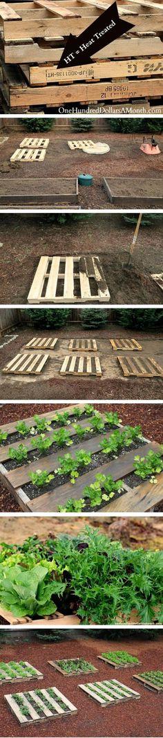 Carrés de jardin en palettes