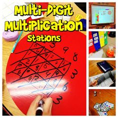 Lots of hands-on and technology-incorporated station ideas for multi-digit multiplication.