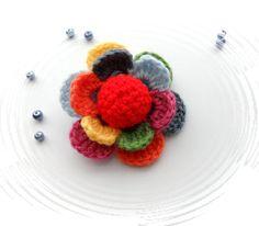 Crochet  Flower  Multicolored Flower  Corsage by CraftsbySigita,
