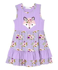 This Lavender Fox & Floral Ruffle-Hem Dress - Toddler & Girls is perfect! #zulilyfinds