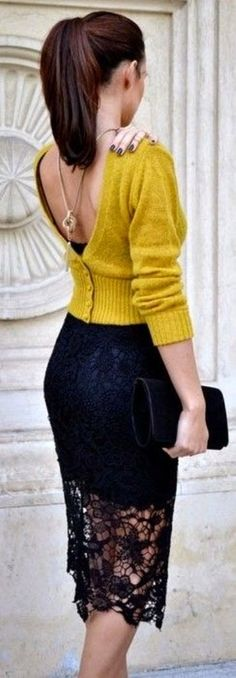 Pencil Lace Skirt With Mustard Back Button Sweater