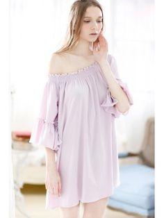 WANT!!!  Sweet Flexible Shoulder Loose Nightgown Sleepwear