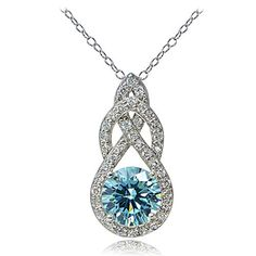 Platinum Flashed Silver 100 Facets Light Blue Cubic Zirconia Infinity Drop Necklace >>> Read more  at the image link. Note: It's an affiliate link to Amazon.