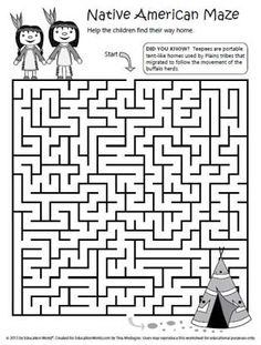 "Teaching Content -This maze would be a fun ""side assignment"" if you will. It includes the main topic of the unit for a day-Native Americans. The students could work on it around dismissal time if they have free time. -MM"