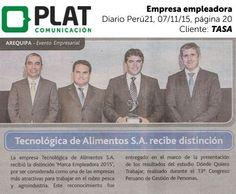 TASA: Distinción como empresa empleadora en el diario Perú21 (07/11/15)