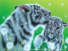 """""""Mother's Kiss"""" White Tigers, Acrylic on canvas, 2009"""