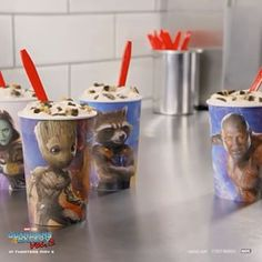 How will you react when you see the new brookie-filled Guardians Awesome Mix BLIZZARD treat flipped upside down and suspended in gravity? Maybe you'll react like Stuart. Served upside down or the next one's free.* See Marvel Studios' Guardians of the Galaxy Vol. 2 in theaters May 5th. Queens Food, Dairy Queen, Guardians Of The Galaxy, Studios, Marvel, Treats, Awesome, Free, Instagram
