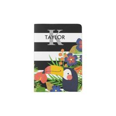 Toucan & Tropical Flowers Name & Monogram Passport Holder - red gifts color style cyo diy personalize unique