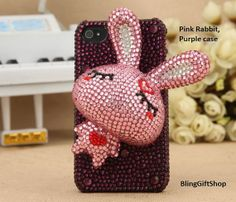 3D Pearl Rabbit iPhone 4 case, iPhone 4S case,Cony iPhone 5 5S Case, iPhone 5C case,iPhone cover, Designer iPhone case, case for iPhone