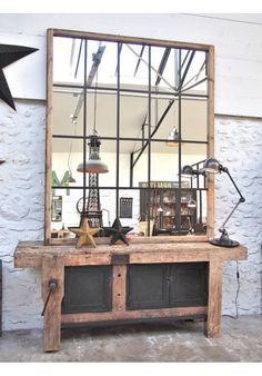 Etabli d'atelier vers 1940 en bois et métal