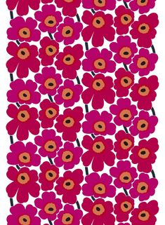 Revel In Color. The Pieni Unikko print of medium-sized flowers brightens up any room; use it for a duvet cover, tablecloth or set of curtains. The cotton Pieni Unikko print isn't limited to static creations, it also makes go Marimekko Fabric, Marimekko Wallpaper, Types Of Curtains, Rod Pocket Curtains, Extra Fabric, Nordic Design, Fabric Online, Fabric Swatches, Fabric Design