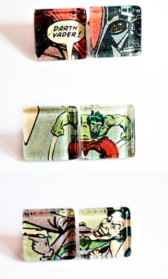 comic salvage cuff links