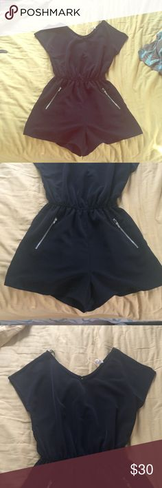 Black Romper with Pockets! Solid black romper with two zipper pockets. Macy's Dresses Mini