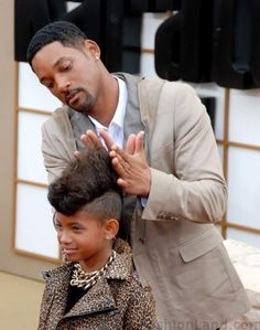 Willow gets some styling help from her dad