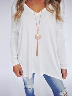 Chicnico Casual V Neck Solid Color Long Sleeve Loose Top