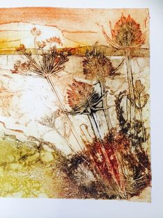 FIELD- the use of the burnt colours and the collagraph print gives it a lot of texture and sets a mood of a sunset? Collagraph Printmaking, Arte Floral, Botanical Art, Landscape Art, Textile Art, Graphic Art, Art Projects, Art Prints, Drawings