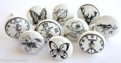These Please Ceramic China Clock Flower Butterfly Stag Door Knobs Handles Drawer | eBay