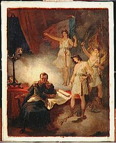 Napoléon à Sainte-Hélène entre les génies de son destin-Blondel Merry Joseph