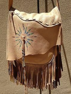 Patricia Wolf Handbag Purse Leather Cowgirl Western Fringe Horse Navajo Pearls