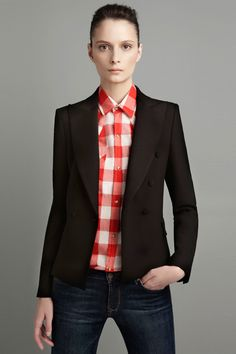 Big Red/White Check Shirt W/Blazer and Jeans