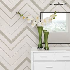 Chevron Bold Grey Peel & Stick Fabric Wallpaper by AccentuWall, $35.00