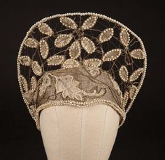 "Mary Pickford ""Dorothy Vernon"" period hat from Dorothy Vernon of Haddon HallOrnate wire frame hat with tulle covering and strung with faux pearl beads and embellished with gold brocade leaf pattern"