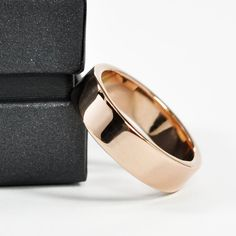 Rose Gold Wedding Band 18K Gold Ring 6mm Wide by by seababejewelry